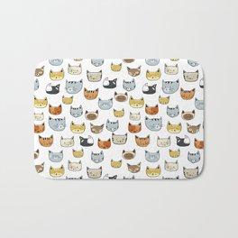 Cat Face Doodle Pattern Bath Mat
