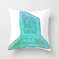 mad Throw Pillows featuring Mad  by Rachel