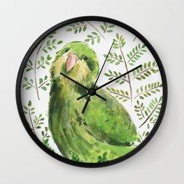 Kakapo in the ferns Wall Clock