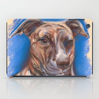 pit bull iPad Cases featuring Brindle Pit Bull Portrait by M.M. Anderson Designs
