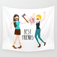 best friends Wall Tapestries featuring Best Friends by flydesign