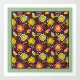 Daisy Pattern on Brown Art Print