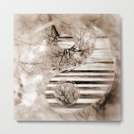Yin Yang softness and sepia Metal Print