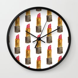 lipstick watercolor pattern Wall Clock