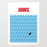 jaws Art Prints featuring JAWS by commonista