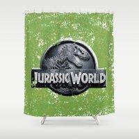 jurassic park Shower Curtains featuring Jurassic World by Illuminany