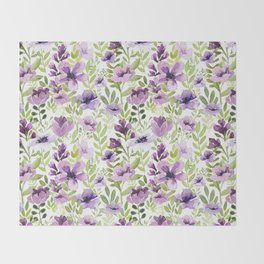 Watercolor/Ink Purple Floral Painting Throw Blanket