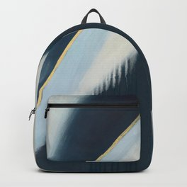 Daydream: a pretty, minimal, abstract, mixed-media piece in blue and gold by Alyssa Hamilton Art Backpack