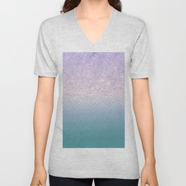 Modern faux lilac glitter teal purple ombre polka dots Unisex V-Neck