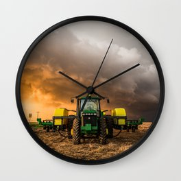 Farm Life - Tractor and Storm in Kansas Wall Clock