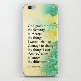 Serenity Prayer Peony Yellow Turquoise iPhone Skin
