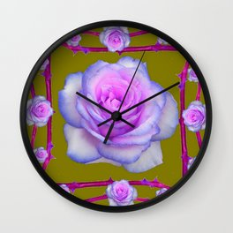 PINK-BLUE TINGED ROSES ON KHAKI COLOR Wall Clock