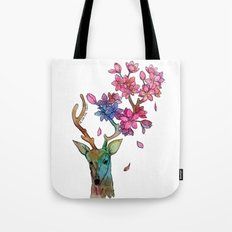 A deer with cherryblossom Tote Bag