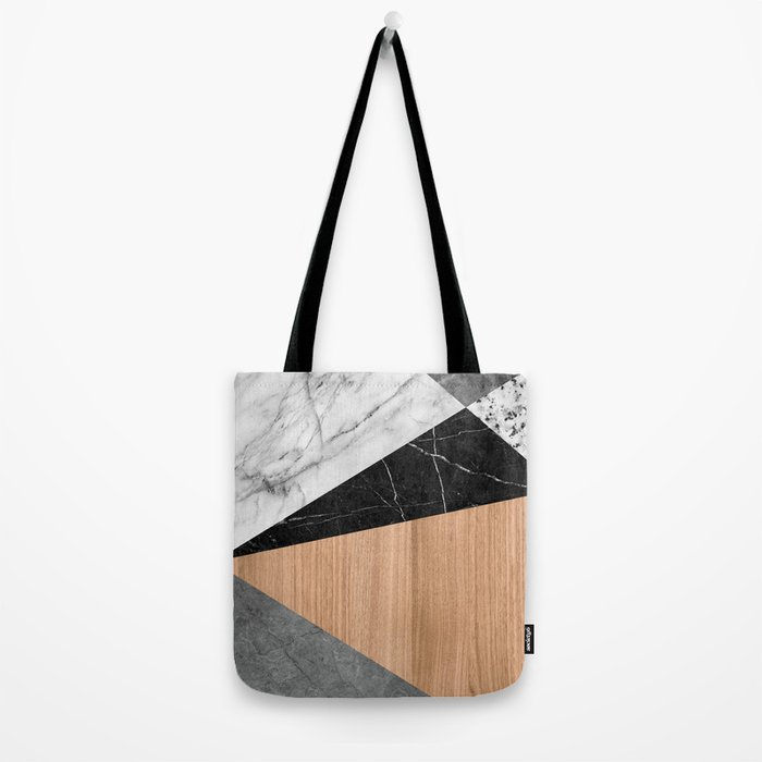 Marble, Garnite, Teak Wood Abstract Tote Bag