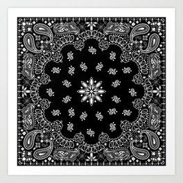 black and white bandana pattern Art Print