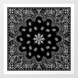 black and white bandana pattern Art Print