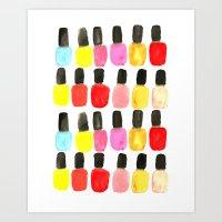 nail polish Art Prints featuring Nail Polish by Bouffants and Broken Hearts