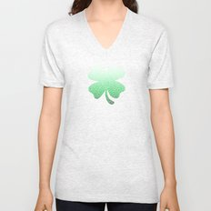 Ombre green and white swirls doodles Unisex V-Neck