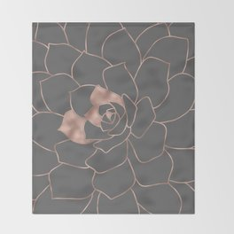 Rosegold  blossom on grey - Pink metal - effect flower Throw Blanket