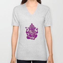 Ganesha Elephant God Purple And Pink Unisex V-Neck