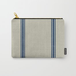 Blue Stripes on Linen color background French Grainsack Distressed Country Farmhouse Carry-All Pouch