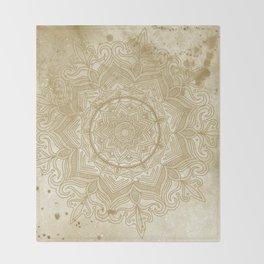 tan splash mandala swirl Throw Blanket