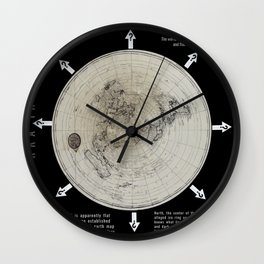 Infinite Plane Society MAP OF THE KNOWN FLAT EARTH Wall Clock