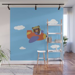 Bear in Airplane Wall Mural