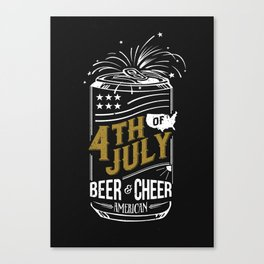 Typography Beer - Fourth of July Canvas Print