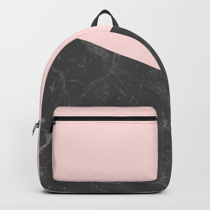 Marble Geometric Blush Pink Gray Black Backpack