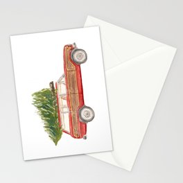 Red Jeep Grand Wagoneer with Christmas Tree Stationery Cards