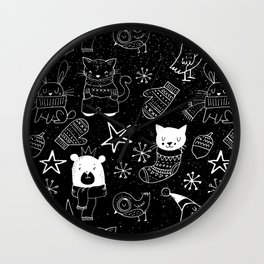 Merry Christmas-Simple X-mas Fun Doodle-Mix and Match with Simplicity of Life Wall Clock