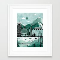 travel poster Framed Art Prints featuring Vancouver Travel Poster Illustration by ClaireIllustrations