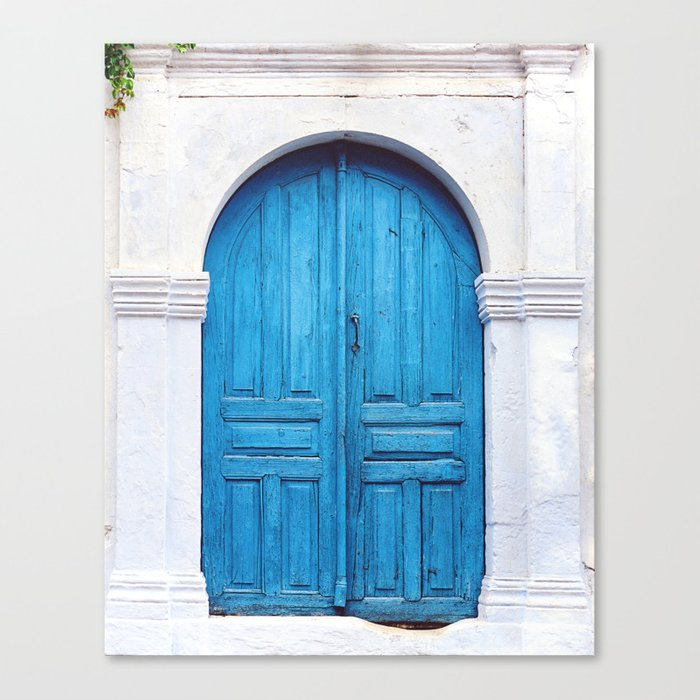 Vibrant Blue Greek Door To Whitewashed Home In Crete, Greece Canvas Print