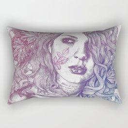 Wake: Red & Blue | maple leaves tattoo woman portrait Rectangular Pillow