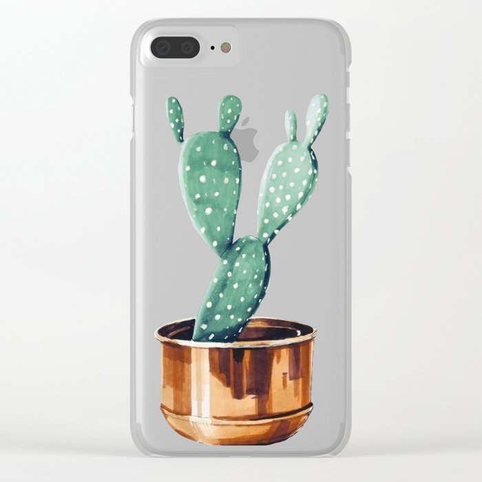 Potted Cactus Bronze Copper Clear iPhone Case
