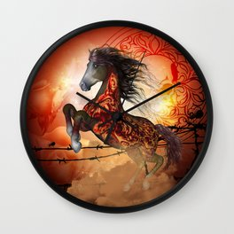 Awesome creepy running horse with skulls Wall Clock