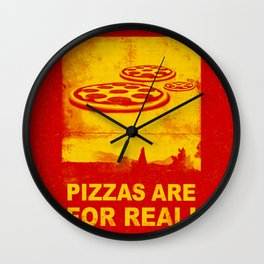 Pizzas are for real ! Fast flying pizzas  Wall Clock