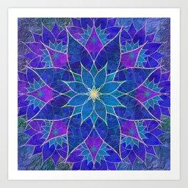 Lotus 2 - blue and purple Art Print