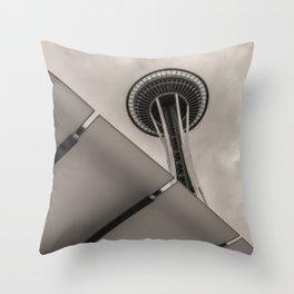 Space Needle sepia Throw Pillow