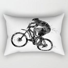 Cyclist Gift Cycling Art Bikers Art Mountain Biker Gift Colorful Purple Watercolor Art Rectangular Pillow