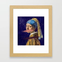 Girl with a Pearl Earring and no mouth Framed Art Print