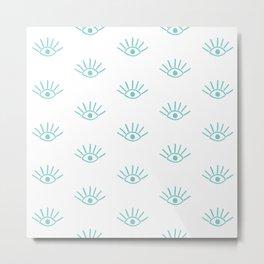 Aqua Evil Eye Pattern Metal Print
