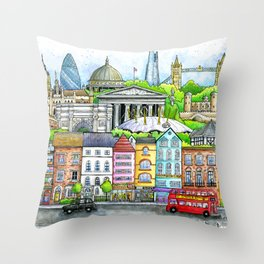 Welcome to London | Hand Drawn Illustration of Iconic London Landmarks | London Cityscape Throw Pillow