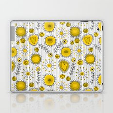Whimsical flowers in yellow Laptop & iPad Skin
