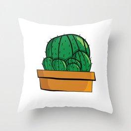 Cactus familia Majeran Illustration Throw Pillow