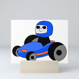 Cartoon car formula1  blue and orange Mini Art Print