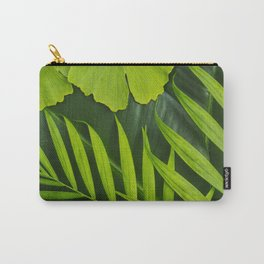 Fresh Green Tropical Palm and Gingko Leaf Carry-All Pouch