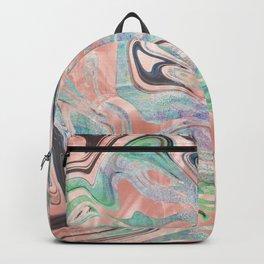 Pastel Rose Gold Mermaid Marble Backpack