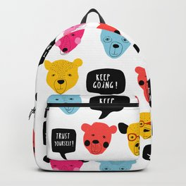 Motivational bears illustration Keep Going! You're Awesome ! Backpack